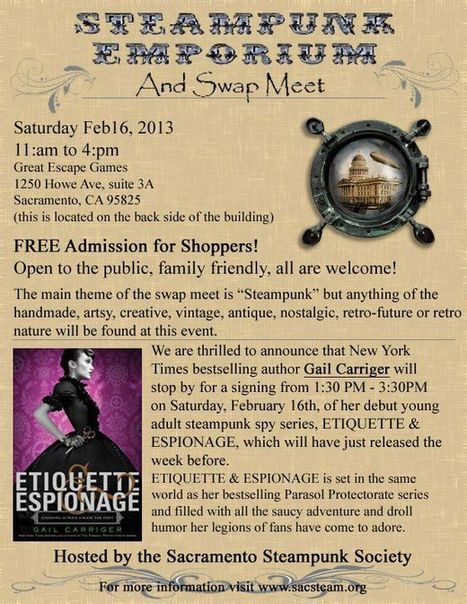 Gail Carriger - Event Report: Steampunk & Avid Reader | Steampunk Elsewhere | Scoop.it