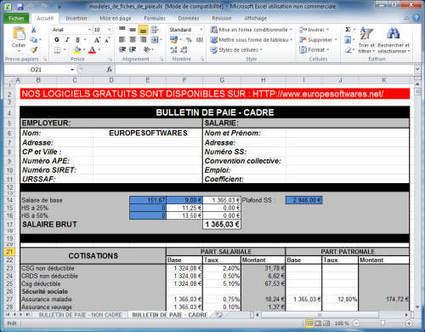 Modèles de fiches de paie cadre et non cadre au format EXCEL | Time to Learn | Scoop.it