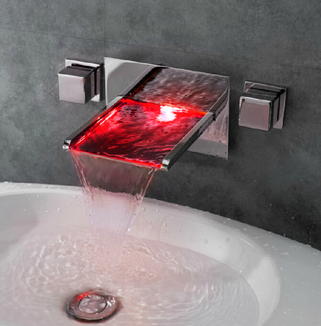 Wall Mount Color Changing LED Waterfall Bathroom Sink Faucet - Faucetsmall.com | Bathroom Sink Faucets or Kitchen Faucets | Scoop.it