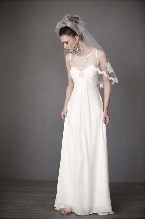 Ivory Chiffon Floor Length Scoop Empire Wedding Dress at Millybridal.com | wedding and event | Scoop.it