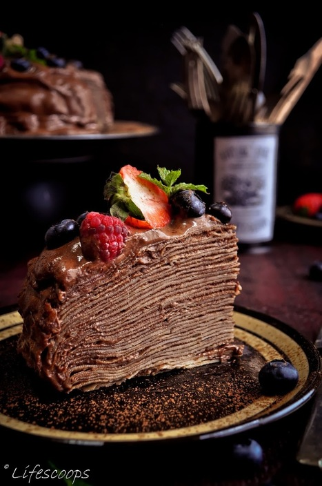 #Desserts / Crepe Cake with Blackberry Schnapps Chocolate Mousse | FOOD | Scoop.it