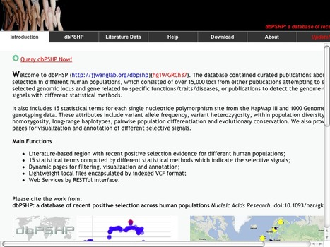dbPSHP: a database of recent positive selection across human populations | bioinformatics-databases | Scoop.it