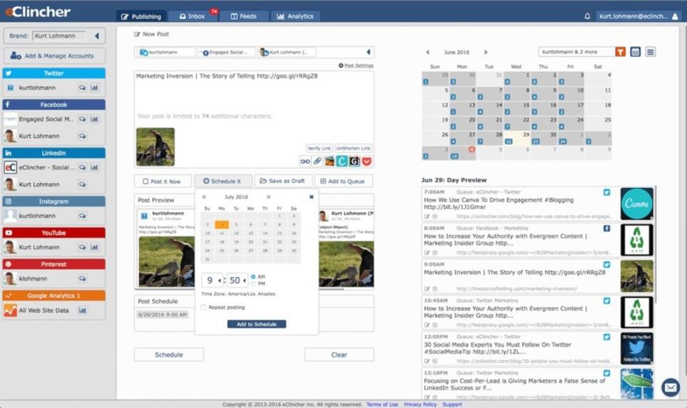 eClincher. Un outil complet pour gérer tous vos réseaux sociaux – Les outils de la veille | Les Médias Sociaux pour l'entreprise | Scoop.it