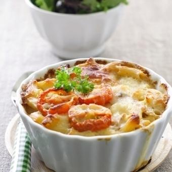 Πένες ογκρατέν με μπεσαμέλ, κοτόπουλο και ντοματίνια | Recipes!!! | Scoop.it