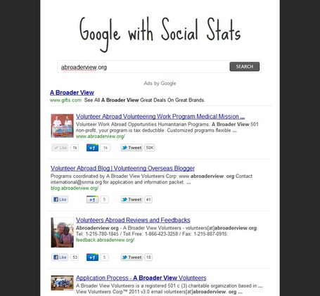 "Google Search with Social Analytics -  This is going to change the Game @abroaderview | ""#Google+, +1, Facebook, Twitter, Scoop, Foursquare, Empire Avenue, Klout and more"" 