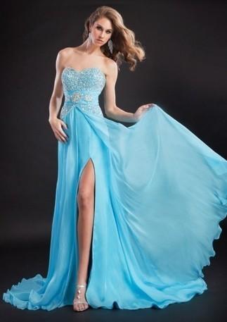 A-line Strapless Beading Sweep Train Chiffon Prom Dresses - Happidress | Fashion Dresses | Scoop.it