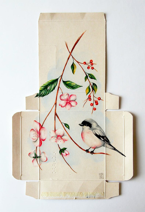 Birds Painted on Unfolded Pharmaceutical Boxes by Sara Landeta | Miss Mandy's Online Finds | Scoop.it
