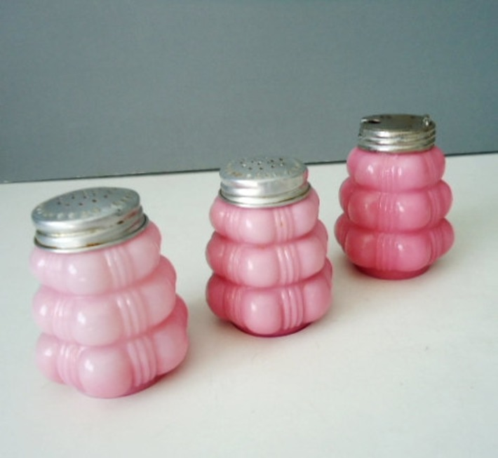 Antique Cased Bubble Glass Shakers in Pink by TheBountifulBird | Antiques & Vintage Collectibles | Scoop.it