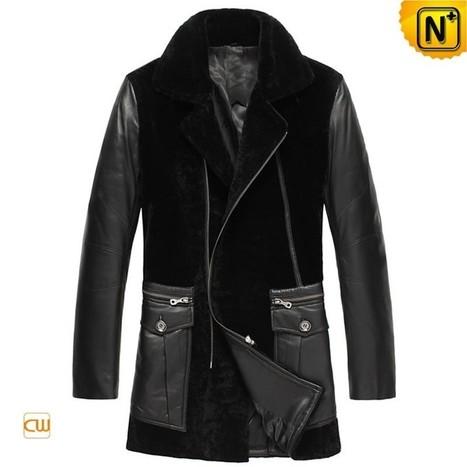 CWMALLS® Black Shearling Trench Coat CW877025 | Fur Lined Mens Coat | Scoop.it