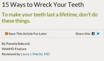 Keep Your Smile Intact: Advice from a Mountain View Cosmetic Dentist on How Not to Wreck your Teeth | Patrick F. McEvoy, DDS | Scoop.it