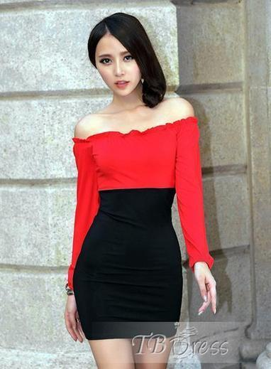 Fashionable Color Block Off Shoulder Boat Neck Bodycon Dress | beauty&fashion clothing | Scoop.it