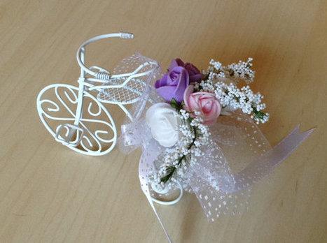 wedding accessory 10xSET White Bicycle Wedding Favor Bike lilac and white roses customized design | wedding | Scoop.it
