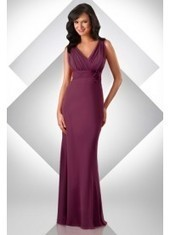 Sheath Column V Neck Floor Length Red Bridesmaid Dress Bbbj0006 for $345 | 2014 landybridal wedding party dresses | Scoop.it