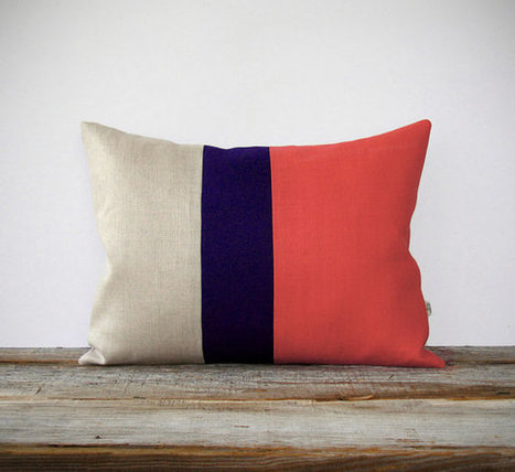 Color Block Pillow Cover in Coral, Navy & Natural Linen (12x16) by JillianReneDecor - Modern Home Decor, Colorblock Trio, Pantone Peach Echo | darch | Scoop.it
