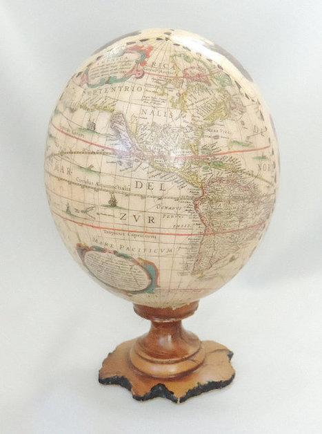 Old Globe Mappemonde du Nord et Amérique du Sud main coupe tirage sur autruche décorés oeufs Fabergé Style décoré Art d'oeufs d'autruche | Cartographie culturelle | Scoop.it