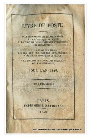 Article du jour (130) : Livre de Poste (1849) | Mes Hautes-Pyrénées | Scoop.it