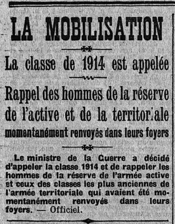 31 août 1914 : mobilisation de la classe 1914 | Rhit Genealogie | Scoop.it