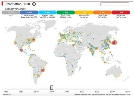 Mapas: La urbanización en el mundo entre 1950 y 2030 | Plataforma Urbana | Open datas | Scoop.it