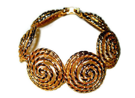 Circle Swirl Rope Link Bracelet, Gold tone 80s, Round Discs, Vintage Womens Jewelry | teamlove jewelry | Scoop.it