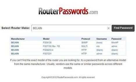 RouterPasswords, busca el usuario y contraseña por defecto para configurar todo tipo de routers | Recull diari | Scoop.it