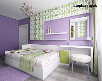 Dormitorio juvenil en lila verde y blanco de - Disenar habitacion juvenil ...