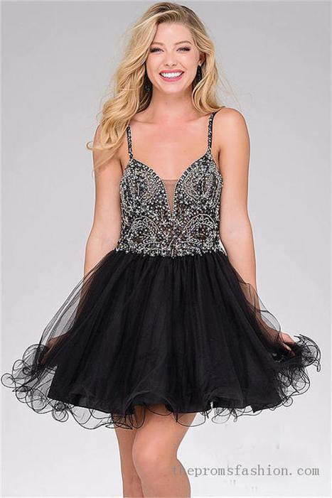 Beaded Short Black Prom Dress OVNIN47550 | women fashion dresses | Scoop.it