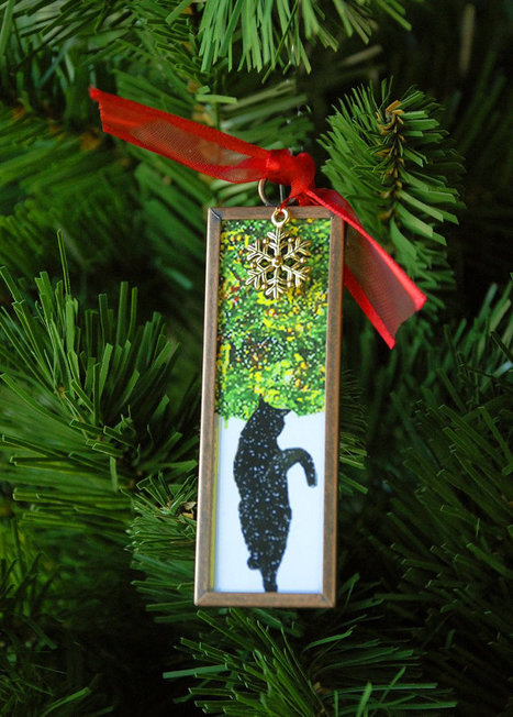 Black Cat Christmas Ornament- Black Cat in Snow | Christmas Cat Ornaments and Cards | Scoop.it