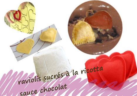 Recette de raviolis à la ricotta, sauce au chocolat - dessert en forme de coeur | Desserts street food | Scoop.it