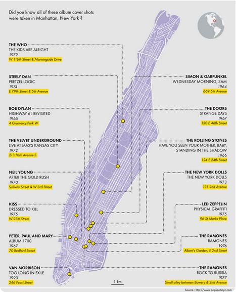 Carte : Les lieux des photographies des couvertures des albums-cultes de rock à New York (Jules Grandin) | HG Sempai | Scoop.it