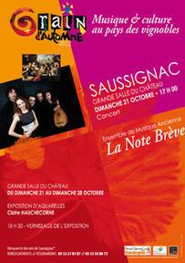 Dimanche 21 octobre à Saussignac - Festival Grain d'Automne - Concert | dordogne - perigord | Scoop.it
