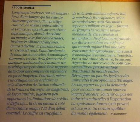 Chiffres clés, prise de notes. Dossier de Télérama sur le rayonnement de la France à l'étranger. | Français langue étrangère et technologies | Scoop.it