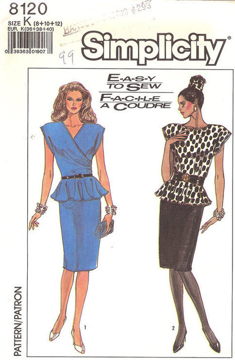 Vintage Sewing Patterns -- Simplicity Misses' Pattern 8120 Size  K 3 sizes 8 10 12 Made in1987 Sassy One Piece Dress Pattern   Pattern Making   Scoop.it