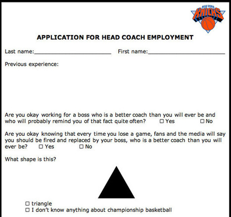New York Knicks Head Coach Application - SportsPickle | What is Comedy? | Scoop.it
