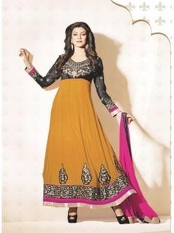 Shop Sushmita Sen Black And Turmeric Georgette Anarkali Suit 9644 - Sushmita Sen Collection Sushmita Sen Dress | Online Suit Salwar Kameez |  Suit Price| Suit Sale | Apparel | Women Suit | Scoop.it