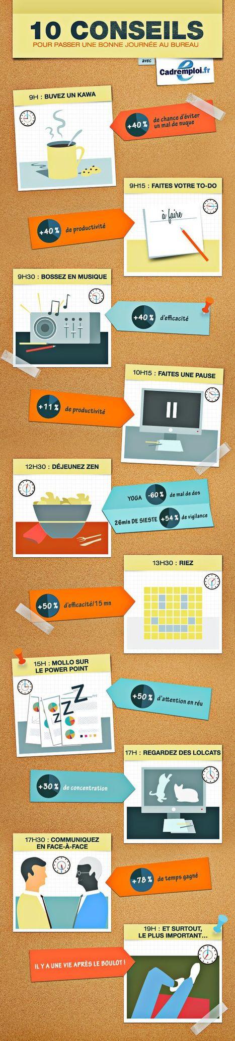 Infographie : 10 conseils pour passer une bonne journée | télétravail | Scoop.it