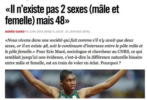 «Il n'existe pas 2 sexes (mâle et femelle) mais 48» | ducyclismeféminin.com | Scoop.it