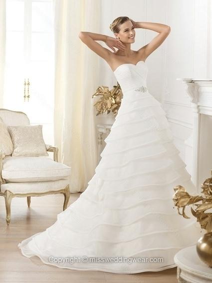 A-line Sweetheart Organza Sweep Train Tiered Wedding Dresses   2014 wedding dress online   Scoop.it