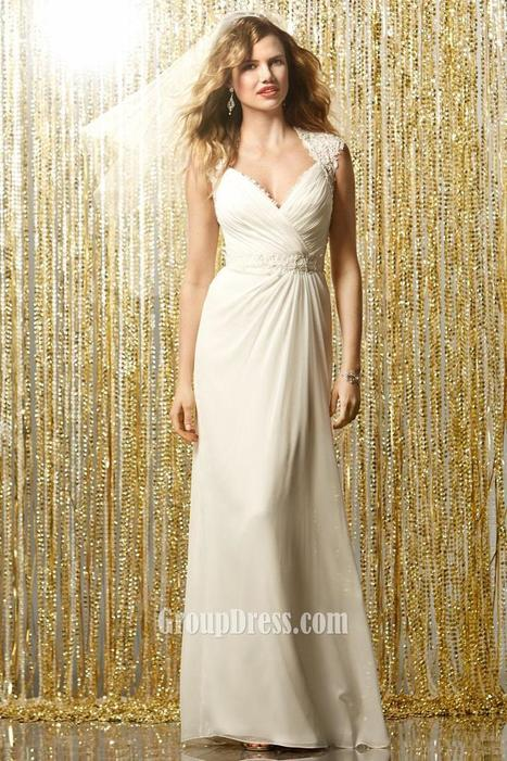 Ruched A-line Chiffon Bridal Gown with Keyhole Back & Sweep Train | Evening Dress | Scoop.it
