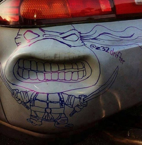 Lemons To Lemonade: Car Dent Turned Into Ninja Turtle | Geek On | Scoop.it