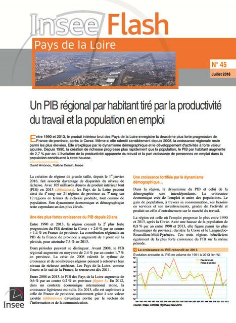 Insee > Un PIB régional par habitant tiré par la productivité du travail et la population en emploi | Observer les Pays de la Loire | Scoop.it
