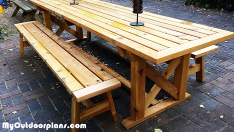 DIY Outdoor Trestle Table | MyOutdoorPlans | Free Woodworking Plans and Projects, DIY Shed, Wooden Playhouse, Pergola, Bbq | Garden Plans | Scoop.it
