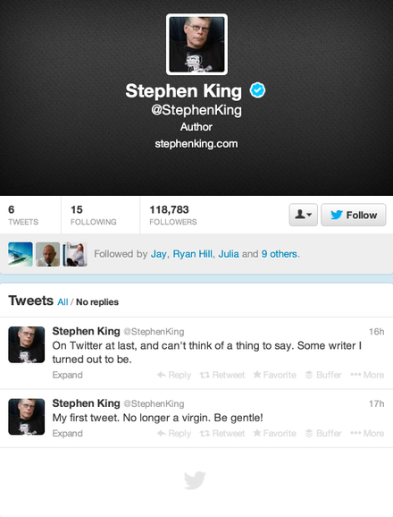 Is Stephen King for real about writer's block on his first day tweeting? | Social Media, Memetics, and Cognitve Science | Scoop.it