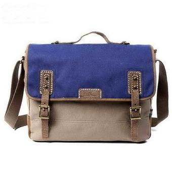 Contrasting tone canvas school messenger bag unisex from Vintage rugged canvas bags | Collection of backpack | Scoop.it