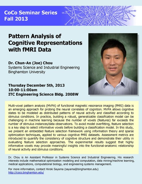 """Next CoCo seminar on Thu Dec 5th: """"Pattern Analysis of Cognitive Representations with fMRI Data"""" by Chun-An Chou 