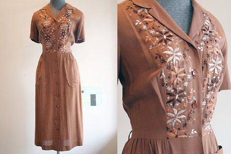 Vintage Linen Dress / Embroidered 40's Dress with Pockets / Medium Large | Linen | Scoop.it