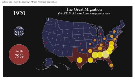 Visualizing the Great Migration — The Most Under-Reported Story of the 20th Century | Unit 2- Population and Migration | Scoop.it