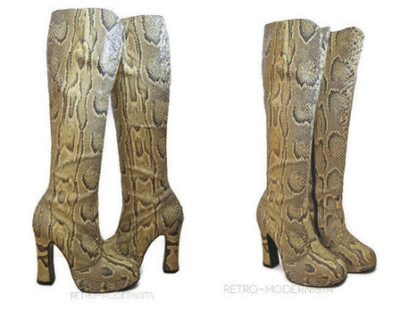 Swinging London groovy 60- 70s authentic Python platform knee-high boots, size 37, 4 ( UK), 7 (US) by RetroModernista | Swinging London Python boots | Scoop.it