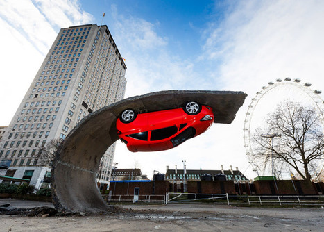 Parked car is upended on a tarmac wave in Alex Chinneck installation | Things I care about... | Scoop.it