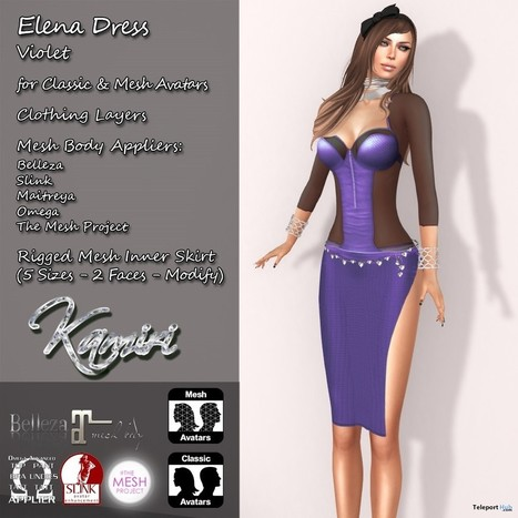 Elena Dress Violet And Appliers Group Gift by Kamiri | Teleport Hub - Second Life Freebies | Second Life Freebies | Scoop.it