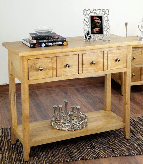 Beautiful Solid Mango Wood Groove Console Table With Drawers | Home Accessories ! | Scoop.it